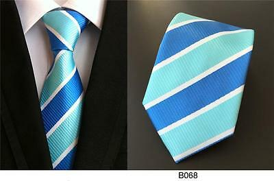 Blue and White Stripe Patterned Handmade 100% Silk Wedding Tie