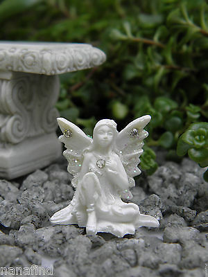 "Miniature Dollhouse FAIRY GARDEN ~ TINY 1"" White Sparkle Fairy ROSE ~ NEW"