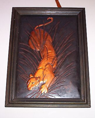Antique  1940's or early 1950's copper relief painting of panther on the prowl