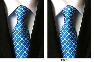 Blue and White Patterned Handmade 100% Silk Wedding Tie