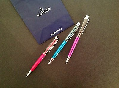Swarovski Crystal Pen -- Lot Of 3 Pcs. -------- 100% Authentic - New !