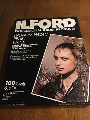 Ilford 8 1/2 X 11  100 Sheets Unopened Premium  Photo Paper Pearl