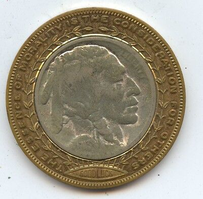 Good Luck Token 1913 T2 Buff Nickel (#7497) Brass Surround in Pristine Condition