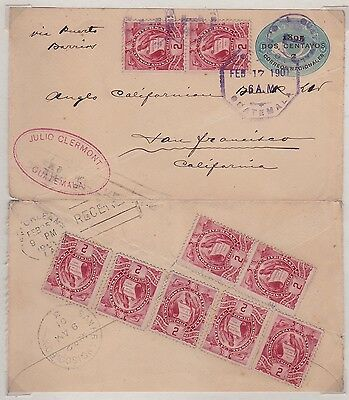 Guatemala Uprated PSE Cover To USA 1901 RARE!! JBP