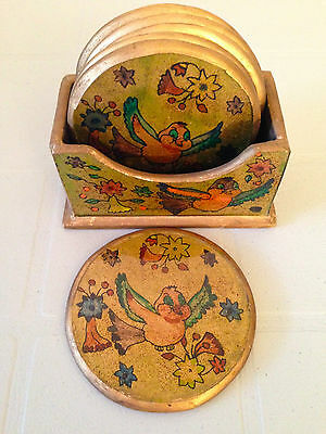 Beautiful Gold Hand Painted Wooden Set of 6 Coasters with Bird/Floral Design