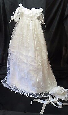 Handmade Ivory Silk And Lace Christening Gown `Millie`