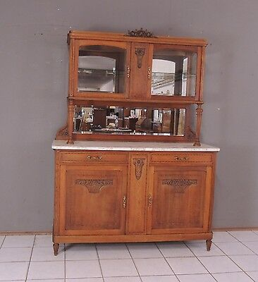 sehr edles jugendstil eiche buffet kredenz schrank vitrine mit aufsatz eur 295 00. Black Bedroom Furniture Sets. Home Design Ideas