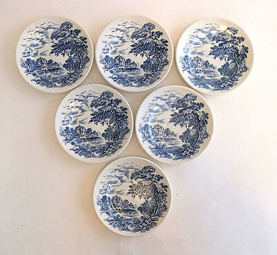 """6  Bread & Butter Plates Enoch Wedgwood England Tunstall Countryside 5 7/8"""""""