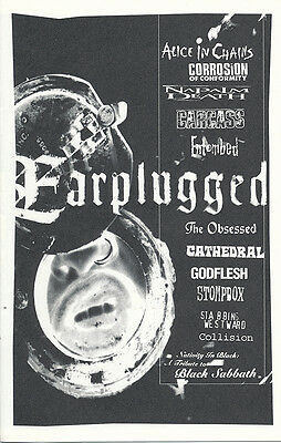 Earplugged RARE promo fanzine Alice In Chains / Obsessed / COC / Napalm Death...