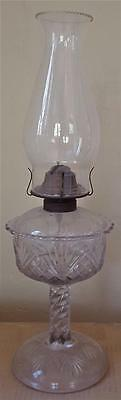 Wonderful Vintage Pressed Glass Liquid Lamp - VGC - Pineapple & Fan - US Glass