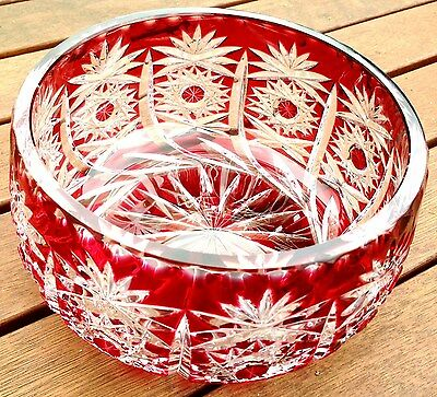 "Vintage Cranberry Ruby Red Lead Crystal Over-Cut Glass Bowl 7"" / 18cm Beautiful"