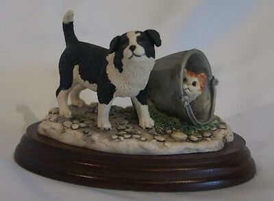 Large Border Fine Arts Border Collie and cat figure - pottery
