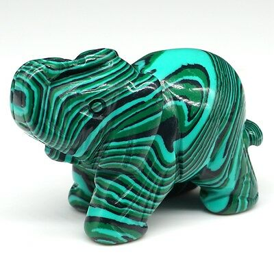 2 Inch Green Taiwan Turquoise Quartz Carved Elephant Figurine Gem Animal Carving