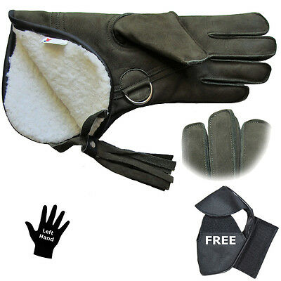 """New Falconry Glove 3 Layer Nubuck Leather Fleece Lined 14""""+FREE Gift Worth £3.99"""