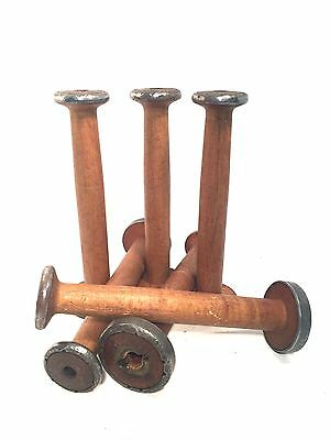 Bobbins Large Wooden Textile Primitive Antique Nostepinne Spools Quills Lot of 6