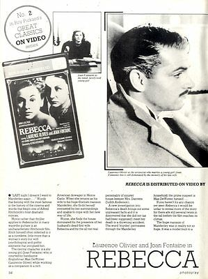 Laurence Olivier & Joan Fontaine In Rebecca Video Classic Article & Picture(S)