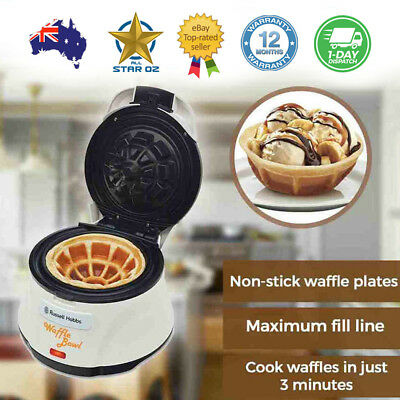 Electric Waffle Maker Cone Bowl Cup Shape Non-stick Oven Dessert  Russel Hobbs