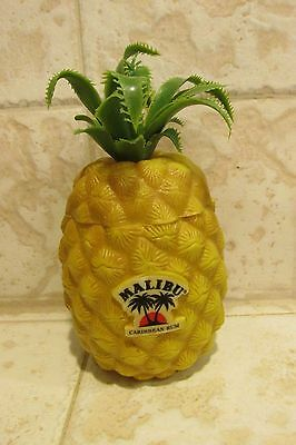 Malibu Caribbean Rum Pineapple Plastic Tiki Mug with Lid NEW NEVER USED NIP