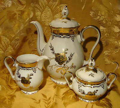 Winterling Bavaria Coffee Pot, Creamer & Sugar Bowl Floral Gold Made In Germany