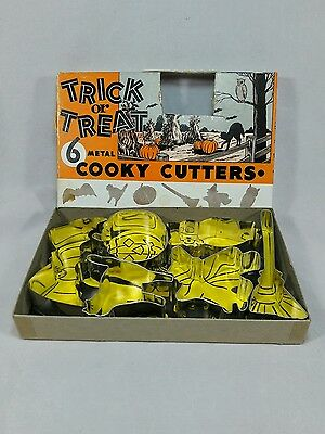 """Vintage Haloween Metal Cookie Cutters  """"TRICK OR TREAT"""" Set of Six with Box"""