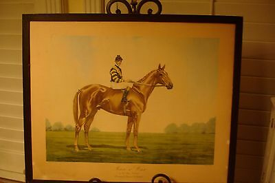 Antique Lithograph Print J Martin Man O War Kentucky Derby 1920 Equestrian