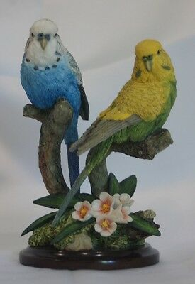 Country Artists Pair of Budgerigars pottery figure on base - 01292