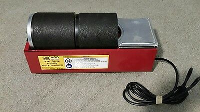 7Y411 Chicago Electric - Dual Drum Rotary Rock Tumbler w/ two 3 lb Capacity Drum