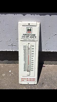 1970's MIDLAND OIL GAS THERMOMETER METAL SIGN COOP GAS STATION SHOP GARAGE BARN