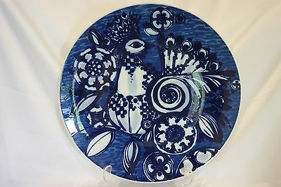 Large vintage Rosenthal blue & white abstract cockerel plate