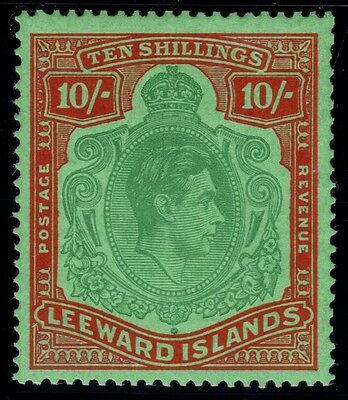 LEEWARD ISLANDS 1938-51 10/- PALE GREEN & DULL RED - SG113a MNH.