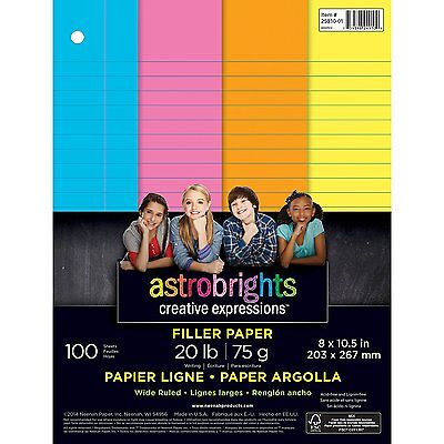 Neenah Astrobrights Wide Ruled Filler Paper Assortment 20 lb.- NEW