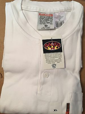 Rasco FR White Flame Resistant Henley  Long Sleeve T-Shirt  NWT