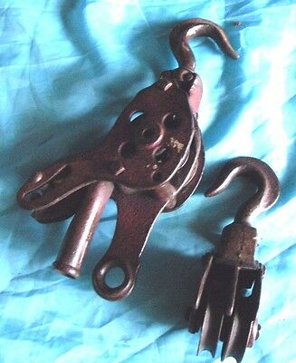 Vintage block and tackle metal double pulleys wrought iron old barn farmhouse