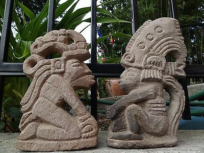 Lot Of Two..antique..mayan,aztec,stone Ceremonial Figures,cental/south America