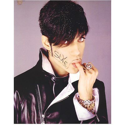 """Prince Close Up Head Shot Sucking on Finger """"Slave"""" on Face 8 x 10 inch photo"""