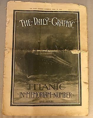 April 20 1912 Daily Graphic Titanic Disaster Memoriam White Star Line Carpathia