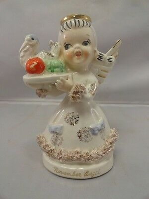 "Betson Thanksgiving November Angel Figurine Girl Turkey Platter 1950's 5"" Tall"