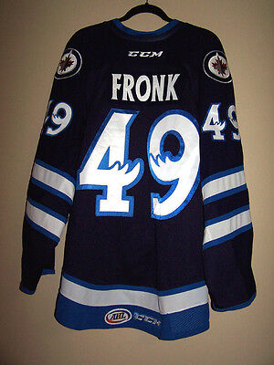Manitoba Moose 15-16 Game Used Worn Jersey Road Navy Jiri Fronk 49