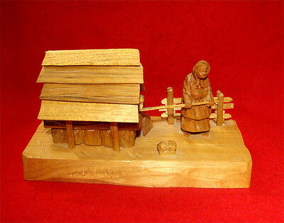 WOOD CARVING by LUCIEN BOURGAULT of QUEBEC *OLD LADY AT BREAD OVEN* SIGNED