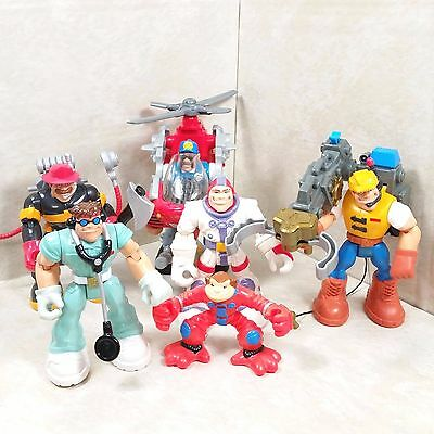 """Vintage Fisher Price Rescue Heroes Kid's Toys Lot Of 6 Figures & Accessories 6"""""""