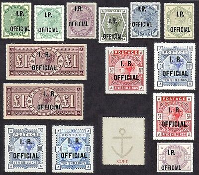 Queen Victoria INLAND REVENUE OFFICIALS  Set of 14 (forgeries)