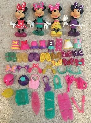 Lot Of Disney Minnie Mouse Daisy Snap N Style Dolls Clothes & Accessories 54 Pcs