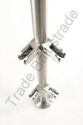 Stainless Steel Balustrade Post 1100mm High Glass Clamps  Rubbers End Cap G304