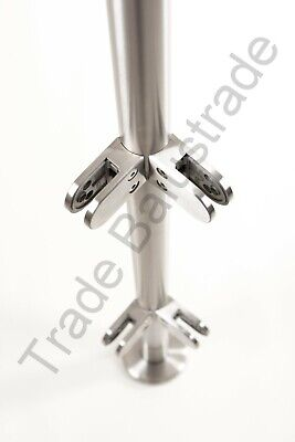Stainless Steel Balustrade Post 1100mm High + Glass Clamps  Rubbers End Cap