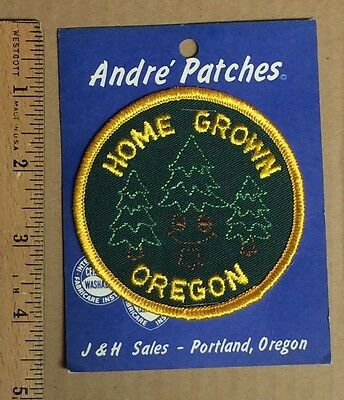 NIP Home Grown Oregon Pine Tree Round Green Yellow Souvenir Patch Badge