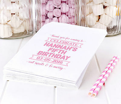 50 Personalised Birthday Celebration White Paper Sweet Bags - party favours bag