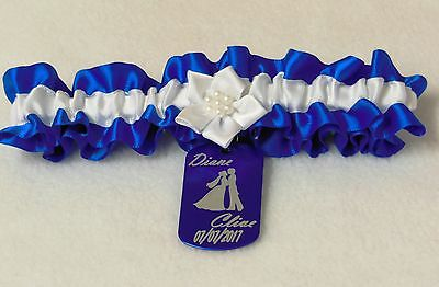 Something Blue Wedding Garter.  Us Tag Engraved Bride And Grooms First Names.