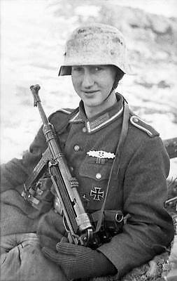 WWII B&W Photo Young German Soldier MP 40 Russian Front 1944  WW2 / 2148