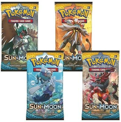 4x Pokemon Sun and Moon Sealed Trading Cards Booster Pack Sun & Moon New 2017