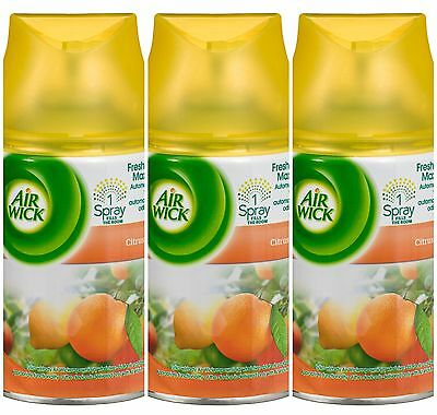 3 x AIR WICK FRESHMATIC AUTOMATIC SPRAY REFILLS 250ml EACH - CITRUS SCENT
